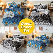 3PCS Bedding Set Geometric Modern Diamond Shape  Quilt Duvet Cover+2 Pillowcases