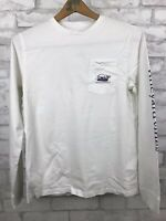 Vineyard Vines White Snowboard Long Sleeve Whale Pocket T-Shirt Size L (16)