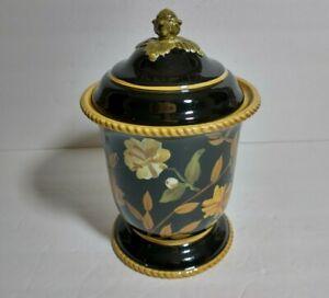 """Raymond Waites Crimson Garden 10"""" Vase Canister Jar With Lid"""