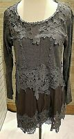 Pretty Angel Sweater Top Womens Crochet Sm, Med, Lg Tunic Long Sleeve NWT Gray