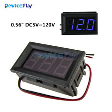 0.56'' DC 5-120V Blue LED Voltmeter Panel 3-Digital Display Voltage Meter 2-wire