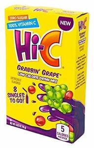HI-C ON-THE-GO Sugar Free GRABBIN' GRAPE Powdered HI C (8 Packet x 3 Box) NEW
