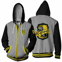 Harry Potter House of Hufflepuff Baseball Coat Hoodie Sweatshirt Jacket Zipper