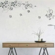 Removable Wall Sticker Black Flower Vine Home Living Room Art TV Back DIY Decor