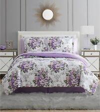 Macy's 8 Piece Comforter Bedding Set New w/ Sheets Purple White Floral Bouquet