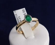 18CT HAND CRAFTED SOLID GOLD NATURAL EMERALD & DIAMOND RING 3.5g.