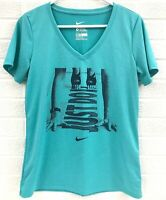 Nike Dri Fit The Nike Tee Athletic Cut T-Shirt V-Neck Women's Size Medium Green