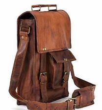 Real Leather Handmade Brown Satchel Messenger Shoulder Goat Hide New Men's M Bag