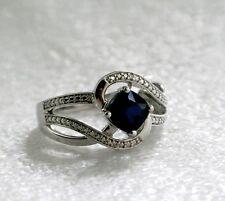 Blue Sapphire Diamond Accent Swirl Ring Size 7 Lab-Created Cushion-Cut 6.0mm