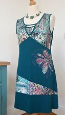 JOE BROWNS quirky arty pull-on teal/multi stretch sleeveless dress, size 12