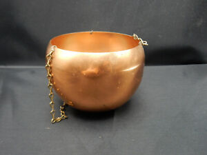 """Vintage Cape Cod Copper and Brass Kettle Chain Hanging Basket Planter 4"""" x 4"""""""