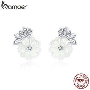 BAMOER shell flower S925 Sterling Silver Stud Earrings With CZ For Women Jewelry