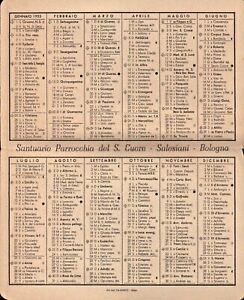 1953 - CALENDARIO TASCABILE PARROCCHIA DEL SACRO CUORE SALESIANI BOLOGNA