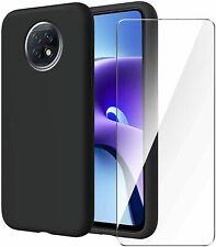 Cover Etui Für Xiaomi Redmi Note 9T Schwarz Matt + Schutzfilm Glas Gehärtetes
