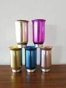 RARE VTG/Mid-Century 50's Anodized Aluminum COLORAMA DELUXE FOOTED TUMBLER SET/5