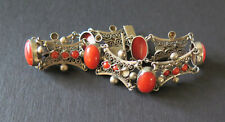 VINTAGE ITALIAN 800 SILVER NATURAL RED CORAL FILIGREE BRACELET ITALY