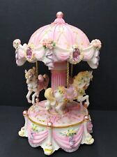Musical resin horse carousel box with led  lights birthday gift home decor  pink