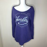 Harley Davidson Purple Off the shoulder Blouse Long Sleeve Women's Size Large