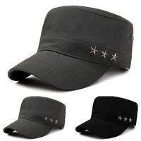 Men Women Vintage Army Military Cap Flat-top Outdoor Sun Adjustable Fatigue Hat