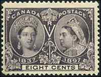 Canada #56 mint F-VF OG NH 1897 Queen Victoria 8c dark violet Diamond Jubilee