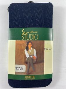 New Vintage Signature Studio M/L Texture Navy Tights with Lycra 120-165 lbs