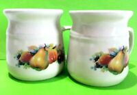 Bendigo Pottery 1858 Ivory Almond Glazed Coffee Mugs Classic Fruits Decals Set 2