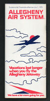 Allegheny Airlines System Flight Timetable & Route Map July 1, 1972
