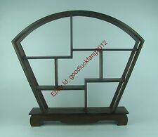 display shelf new China brown Ji-chi wood rosewood carved fan style stand