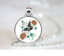 Tattoo Bird PENDANT NECKLACE Chain Glass Tibet Silver Jewellery