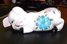 Hand Painted Floral Decorated Cute Adorable China Piggy Money Coin Bank  Used