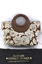 $545 DONAL J. PLINER Bianca Brown Ivory Floral Canvas Tapestry Leather Bag NWT