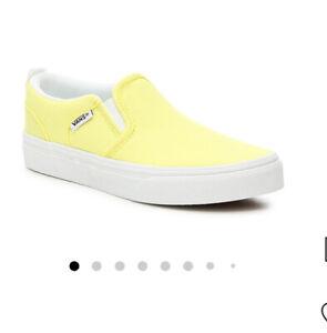 vans Asher Slip-on Sneakers Kids Neon Yellow/white Sz 4y NWB