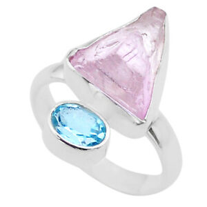 925 Silver 8.53cts Natural Pink Kunzite Rough Fancy Topaz Ring Size 8 T48186