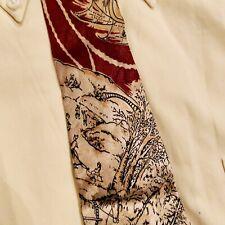1940s mens vintage tie by Currier & Ives. Winter Skating