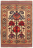 """Vintage Hand-Knotted Carpet 4'4"""" x 6'4"""" Traditional Oriental Wool Area Rug"""