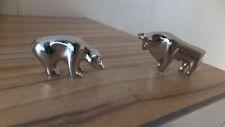 Design Figuren Bulle und Bär Bull&Bear Börse, schwere Ausführung, verchromt, NEU