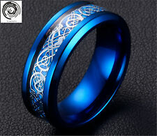 8mm Mens Jewelry Men's Silvering Celtic Dragon Stainless Steel Ring W598 Blue 9