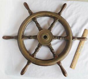 "Vtg / Antique Original 24"" Ships Steering Wheel Brass & Wood Modified Very Nice"