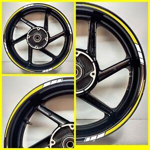 Fluorescent Yellow & REFLECTIVE White 2 colour Motorcycle Wheel Rim sticker 025