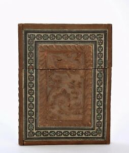 Old Indian India Anglo Inlay Sandalwood Wood Carved Carving Card Case Box