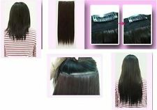 """very dark brown 5 clips one piece straight 22"""" long clip in on hair extension"""