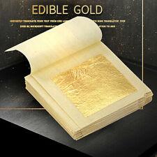 """10 Sheets Gold Leaf Foil 24K For Arts Food Facial Spa Gilding Crafting  1.7"""""""
