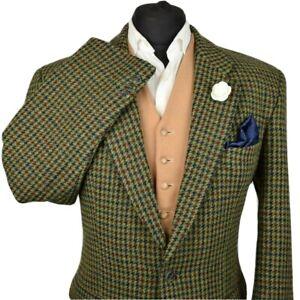 Harris Tweed Tailored Country Green Houndstooth Blazer Jacket 42R #997 STUNNING