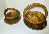 Carved Vintage 2 Wooden Collapsible Serving Baskets Tray Bowl Trivet