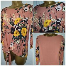 NEW M&S MARKS & SPENCER LADIES TOP BLOUSE TUNIC CORAL YELLOW GREEN FLORAL 6 - 24