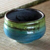 Japanese Kutani Ware Matcha Tea Bowl Yurikinsai Green Wooden Box Japan Tracking