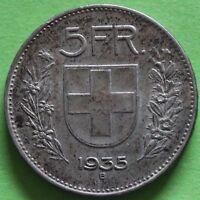 SUISSE 5 FRANCS 1935 B ARGENT
