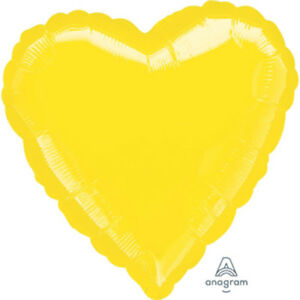 """Metallic Bright Yellow, set of TWO, 17"""" Heart-Shaped Foil Balloons"""
