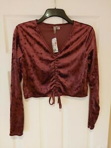 Ladies H&M Cropped Top Long Sleeves Size Large Velvet Soft Touch Purple