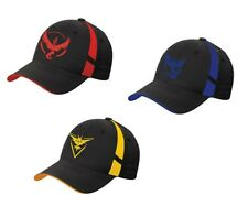 (Set of 3) Embroidered Pokemon Go Hats Caps Generation 2 Team Yellow/Red/Blue